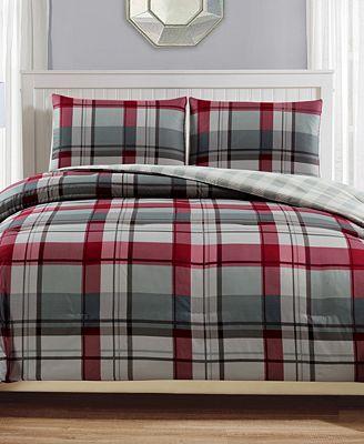 CLOSEOUT! Clark Reversible 2-Pc. Plaid Twin Comforter Set
