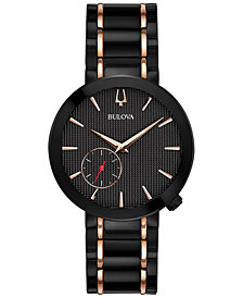 Bulova Women's Special Latin GRAMMY® Edition Dress Black & Rose Gold-Tone Stainless Steel Bracelet Watch 35mm