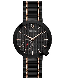LIMITED EDITION Bulova Women's Special Latin GRAMMY® Edition Dress Black & Rose Gold-Tone Stainless Steel Bracelet Watch 35mm