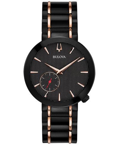 Bulova Women's Special Latin GRAMMY® Edition Dress Black & Rose Gold-Tone Stainless Steel Bracelet Watch 35mm