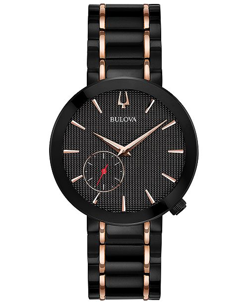 Bulova LIMITED EDITION Women's Special Latin GRAMMY® Edition Dress Black & Rose Gold-Tone Stainless Steel Bracelet Watch 35mm