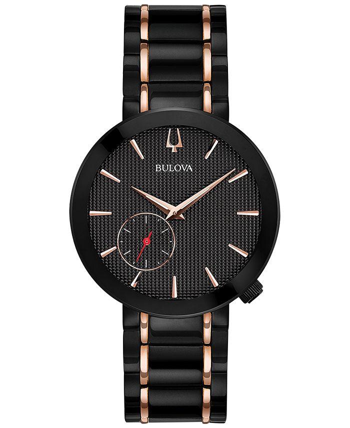 Bulova - Women's Special Latin GRAMMY® Edition Dress Black & Rose Gold-Tone Stainless Steel Bracelet Watch 35mm