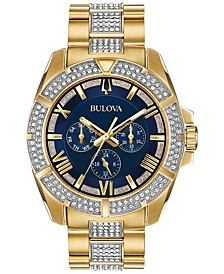 Men's Crystal Dress Gold-Tone Stainless Steel & Crystal-Accent Bracelet Watch 44mm