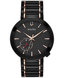 Bulova Men's Special Latin GRAMMY® Edition Dress Black & Rose Gold-Tone Stainless Steel Bracelet Watch 42mm