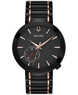 Bulova Men's Special Latin GRAMMY® Edition Dress Black & Rose Gold-Tone Stainless Steel Bracelet Watch 42mm