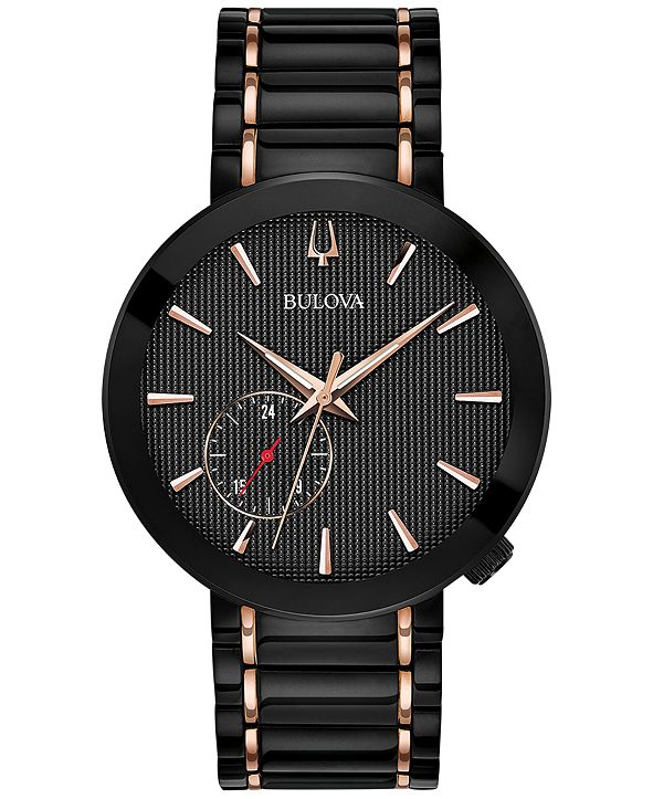 Bulova LIMITED EDITION Men's Special Latin GRAMMY® Edition Dress Black & Rose Gold-Tone Stainless Steel Bracelet Watch 42mm