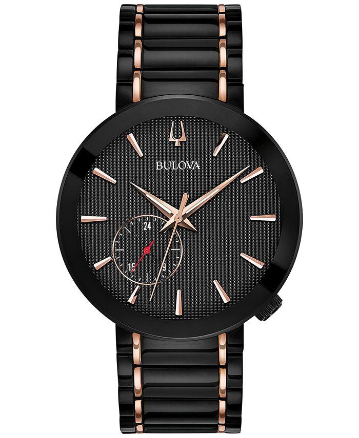 Bulova - Men's Special Latin GRAMMY® Edition Dress Black & Rose Gold-Tone Stainless Steel Bracelet Watch 42mm