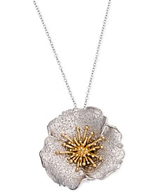 Two-Tone Hibiscus Pendant Necklace, Created for Macy's
