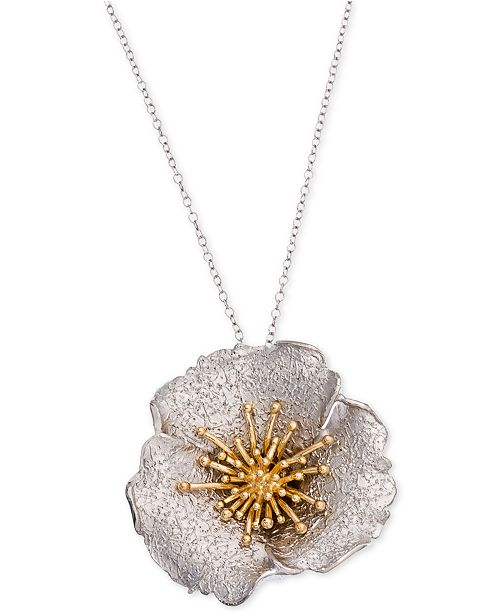 Giani Bernini Two-Tone Hibiscus Pendant Necklace, Created for Macy's