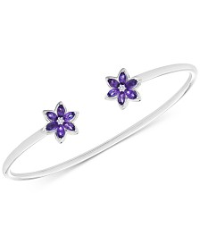 Amethyst (1 ct. t.w.) & Diamond Accents Flower Cuff Bracelet in Sterling Silver