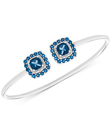 London Blue Topaz (1-3/4 ct. t.w.) & Diamond Accent Cuff Bracelet in Sterling Silver