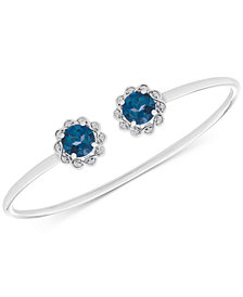 London Blue Topaz (3-1/5 ct. t.w.) & Diamond Accent Cuff Bracelet in Sterling Silver