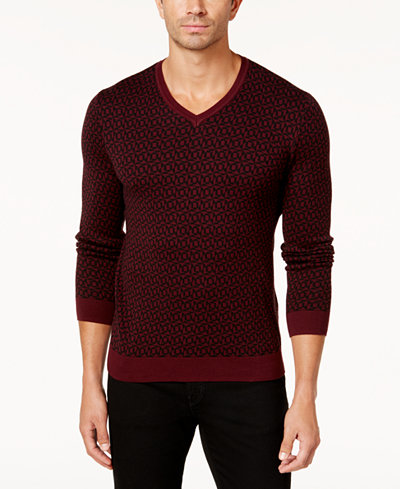 Alfani Men's Geometric V-Neck Sweater, Created for Macy's