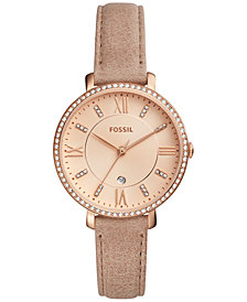 Fossil Women's Jacqueline Beige Leather Strap Watch 36mm