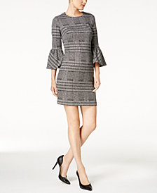 Calvin Klein Plaid Ponté-Knit Bell-Sleeve Dress
