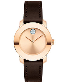 Movado Women's Swiss Bold Chocolate Leather Strap Watch 30mm