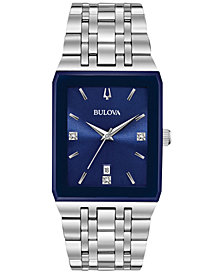 Bulova Men's Diamond-Accent Stainless Steel Bracelet Watch 31x45mm, Created for Macy's