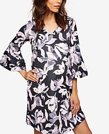 A Pea In The Pod Maternity Printed Bell-Sleeve Dress