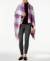 I.N.C. College Plaid Wrap & Scarf in One, Created for Macy's