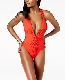 Kenneth Cole Plunge Tummy-Control Cheeky One-Piece Swimsuit