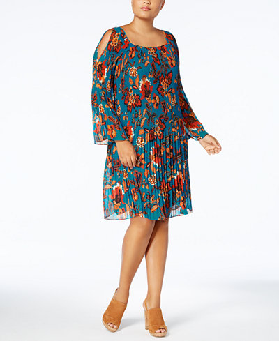 Anna Sui Loves I.N.C. Plus Size Pleated Cold-Shoulder Dress, Created for Macy's