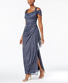 Alex Evenings Cold Shoulder Draped Metallic Gown