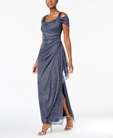 Alex Evenings Cold Shoulder D Metallic Gown