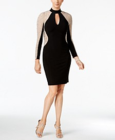 Studded Illusion Choker Sheath Dress