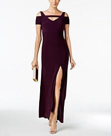 Petite Cold-Shoulder Keyhole Gown