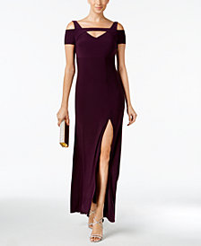Nightway Petite Cold-Shoulder Keyhole Gown