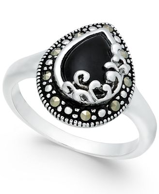 Onyx (5/8 ct. t.w.) & Marcasite Ring in Fine Silver-Plate