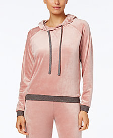 Alfani Velvet Hooded Pajama Top, Created for Macy's