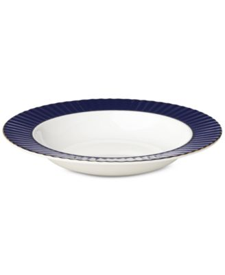 Pleated Colors Navy  Pasta Rim/Soup Bowl