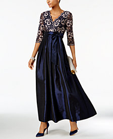 Jessica Howard Sequined Lace A-Line Gown