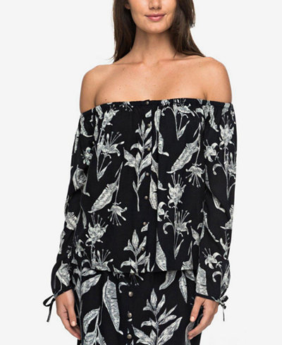 Roxy Juniors' Ms. Brightside Printed Off-The-Shoulder Top
