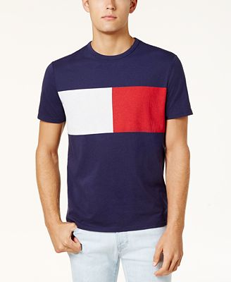 Tommy Hilfiger Men's New Standard Colorblock Flag T-Shirt