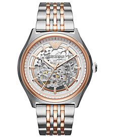 Emporio Armani Men's Automatic Meccanico Two-Tone Stainless Steel Bracelet Watch 43mm