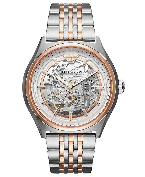 ca46c82dc ... Emporio Armani Men's Automatic Meccanico Two-Tone Stainless Steel  Bracelet Watch ...