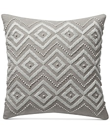 "CLOSEOUT! Diamond Hand Embroidered 17"" Square Decorative Pillow, Created for Macy's"