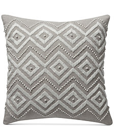 "Lucky Brand Diamond Hand Embroidered 17"" Square Decorative Pillow, Created for Macy's"