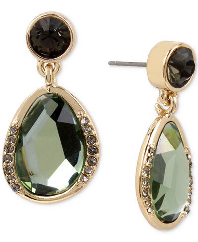 Kenneth Cole New York Gold Tone Jet Crystal Green Stone Drop Earrings