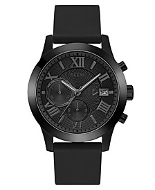 Men's Chronograph Black Silicone Strap Watch 45mm