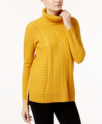 kensie Cable-Knit Turtleneck Sweater