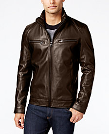 Michael Kors Men's Big & Tall Perforated Faux-Leather Jacket
