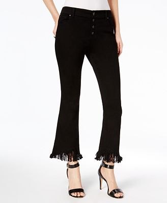 INC International Concepts Fringe-Trim Flare-Leg Curvy-Fit Jeans, Created for Macy's