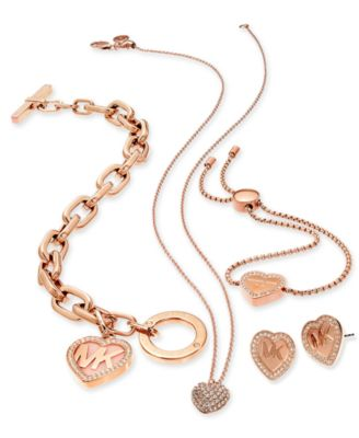 Michael Kors Rose GoldTone Logo Heart Jewelry Separates Jewelry