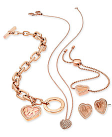 Michael Kors Rose Gold-Tone Logo Heart Jewelry Separates