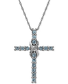 Aquamarine (5/8 ct. t.w.) & Diamond Accent Cross Pendant Necklace in 14k White Gold