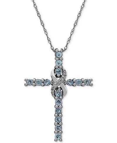 Aquamarine (5/8 ct. t.w.) & Diamond Accent Cross Pendant Necklace in 14k White Gold