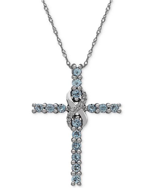 Macy's Aquamarine (5/8 ct. t.w.) & Diamond Accent Cross Pendant Necklace in 14k White Gold